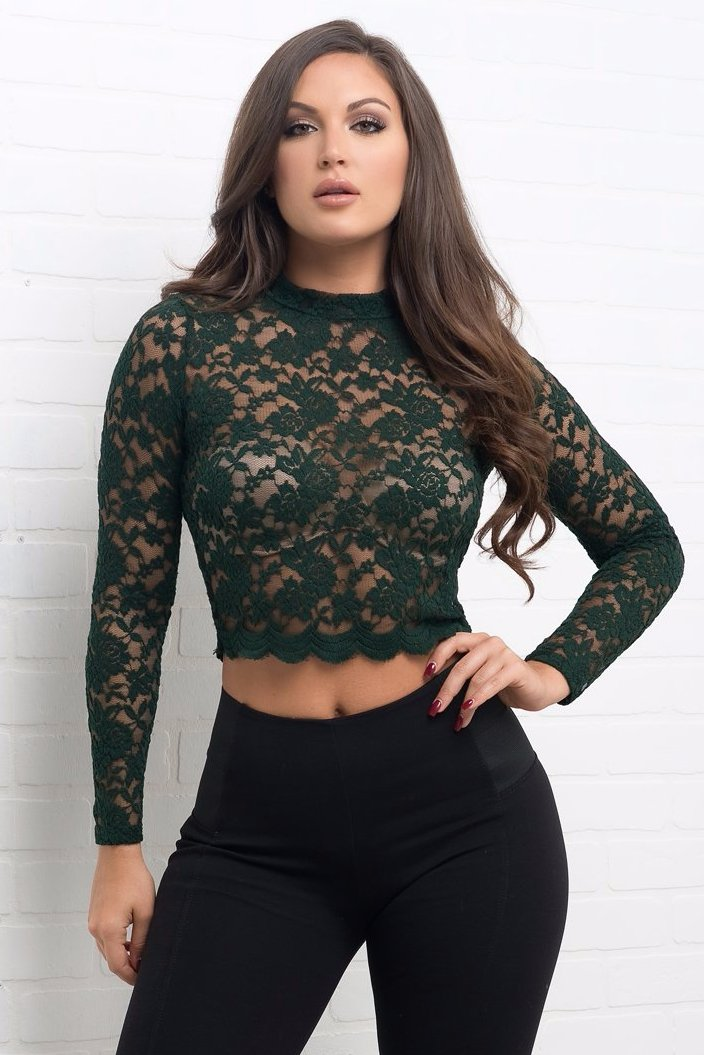 Jaclyn Lace Top - Olive