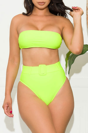 Manhattan Beach Two Piece Swimsuit Neon Green