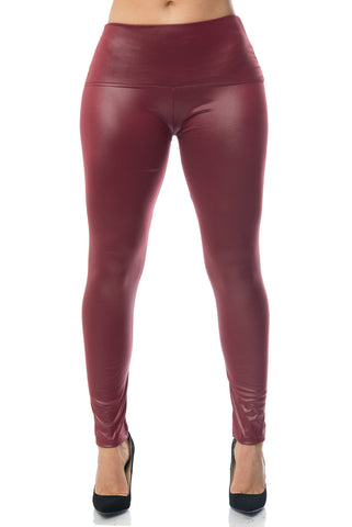My Rockin' Burgundy Leather Leggings - Fashion Effect Store  - 1
