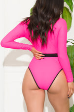 Baisha Bay One Piece Rashguard Swimsuit Neon Pink