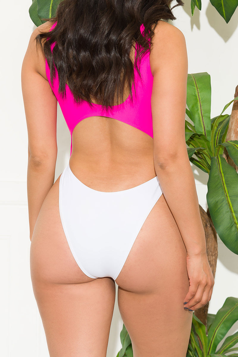 Surfer Seafront One Piece Swimsuit Pink White
