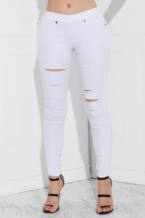 Macy Distressed Pants White