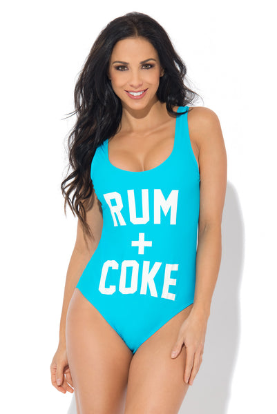 RUM + COKE One Piece Swimsuit TEAL - Fashion Effect Store  - 1
