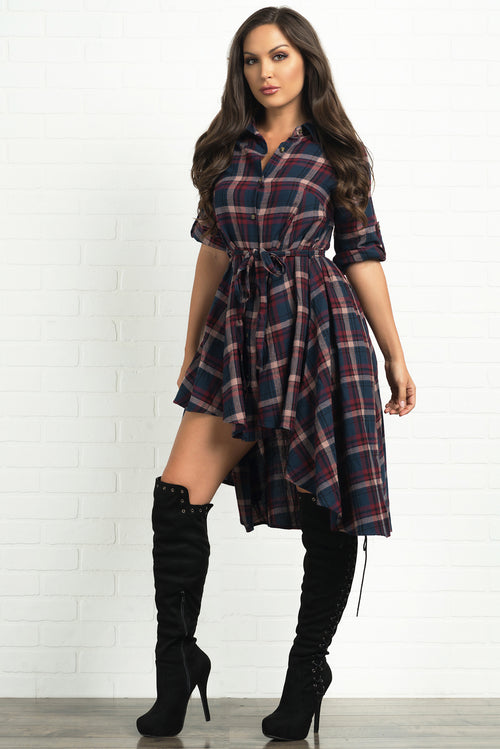 Parker Plaid Dress- Navy and Pink