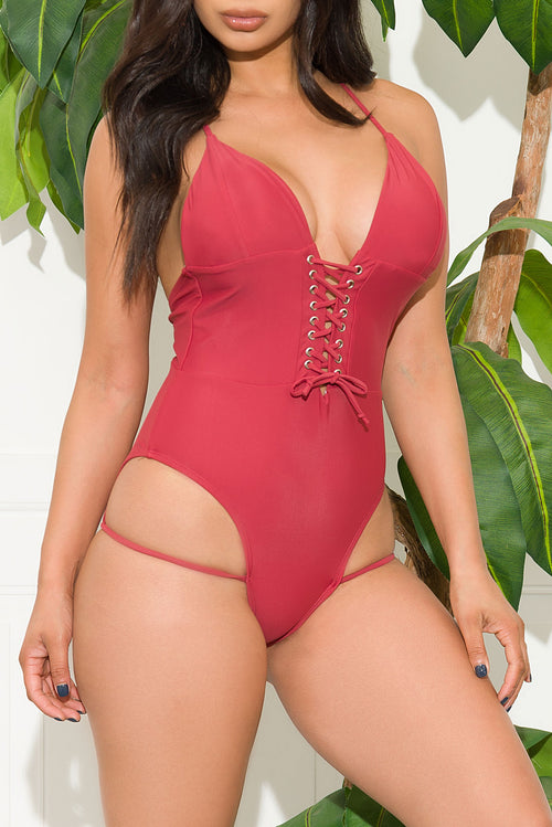 Rockpile Beach One Piece Swimsuit Burgundy