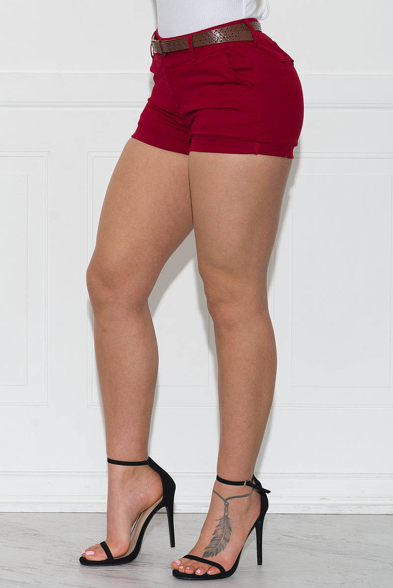 Call It A Day Shorts Dark Red