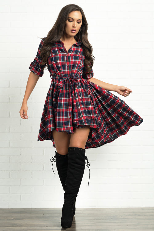 Parker Plaid Dress- Navy and Red