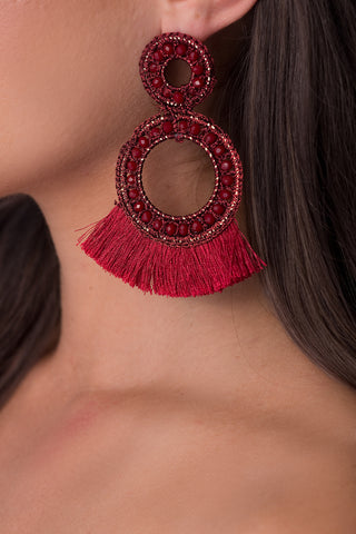 Nancy tassel earrings - burgundy