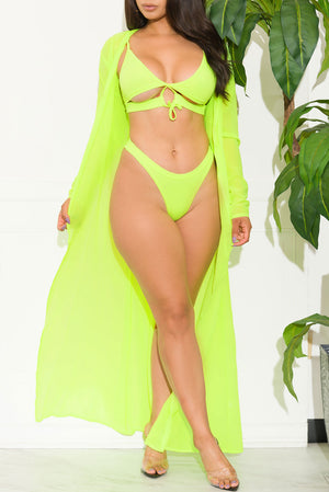 Sahara Beach Two Piece Swimsuit Set Neon Green