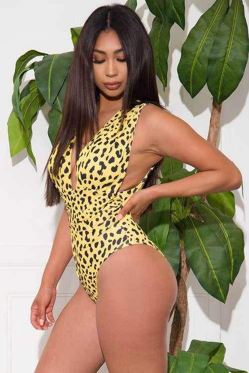 White Coral Sands One Piece Swimsuit Yellow Animal Print