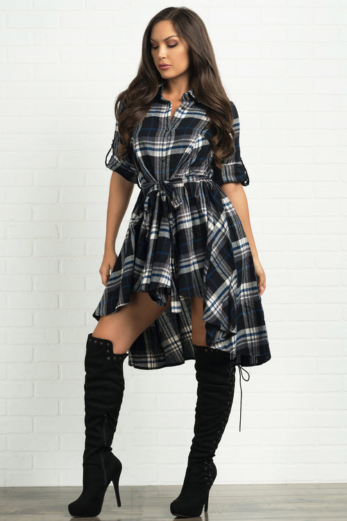Parker Plaid Dress- Black And Navy