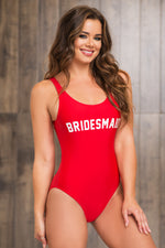 Bridesmaid One Piece Swimsuit  Red