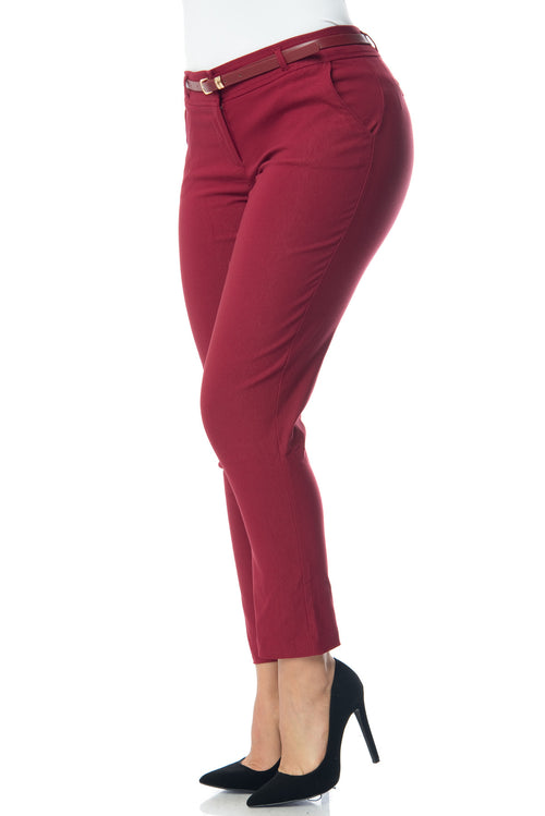 Get Down To Business Pants Burgundy - RESTOCKED - Fashion Effect Store  - 3