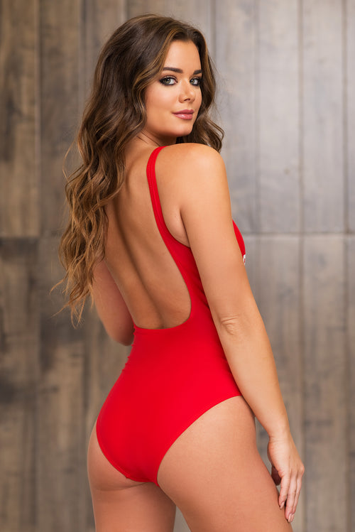 Bridesmaid One Piece Swimsuit - Red
