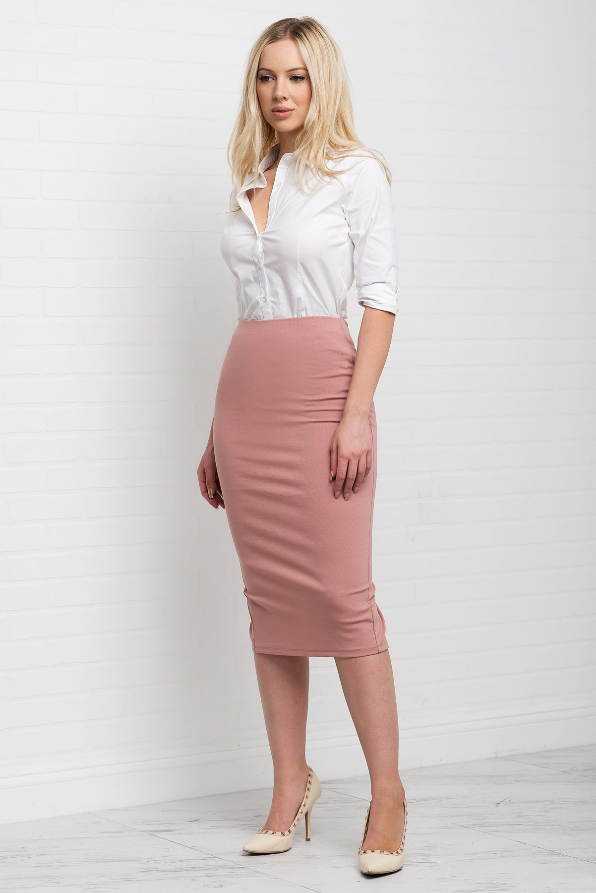 Zoey Pencil Skirt - Dusty Rose
