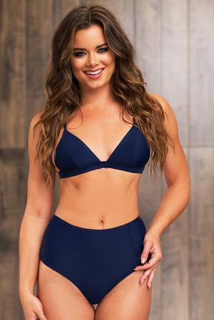 Baisha Bay Two Piece Swimsuit  Navy