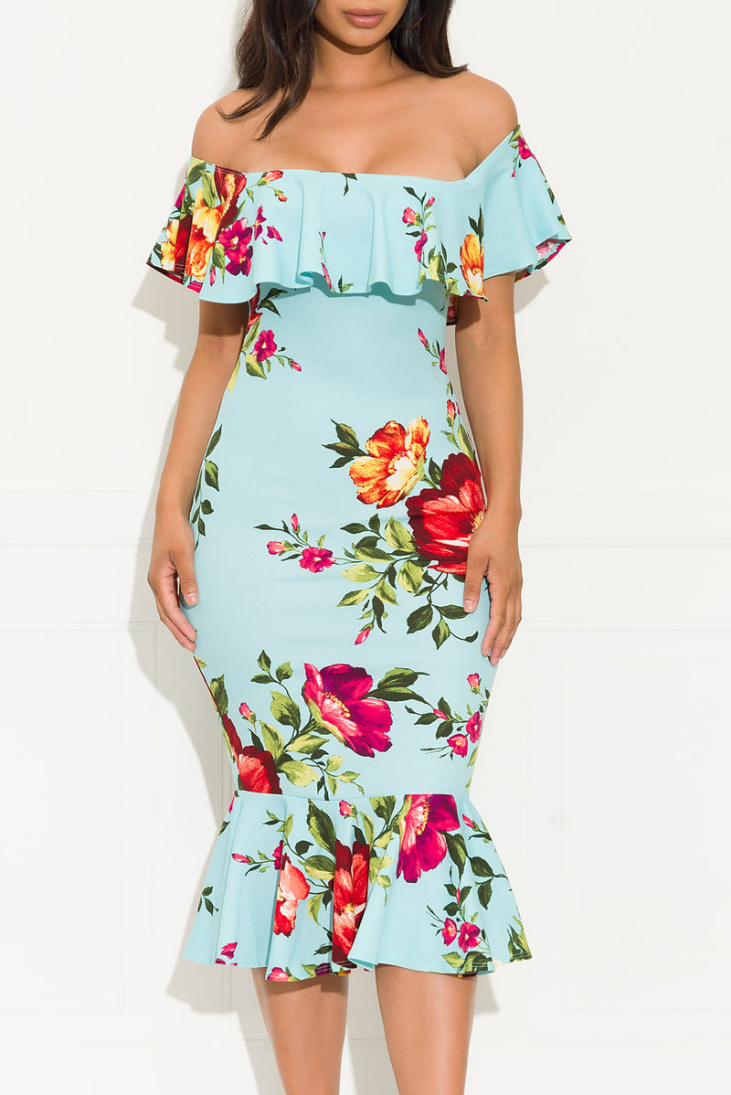 Resort Vibes Floral Dress Blue