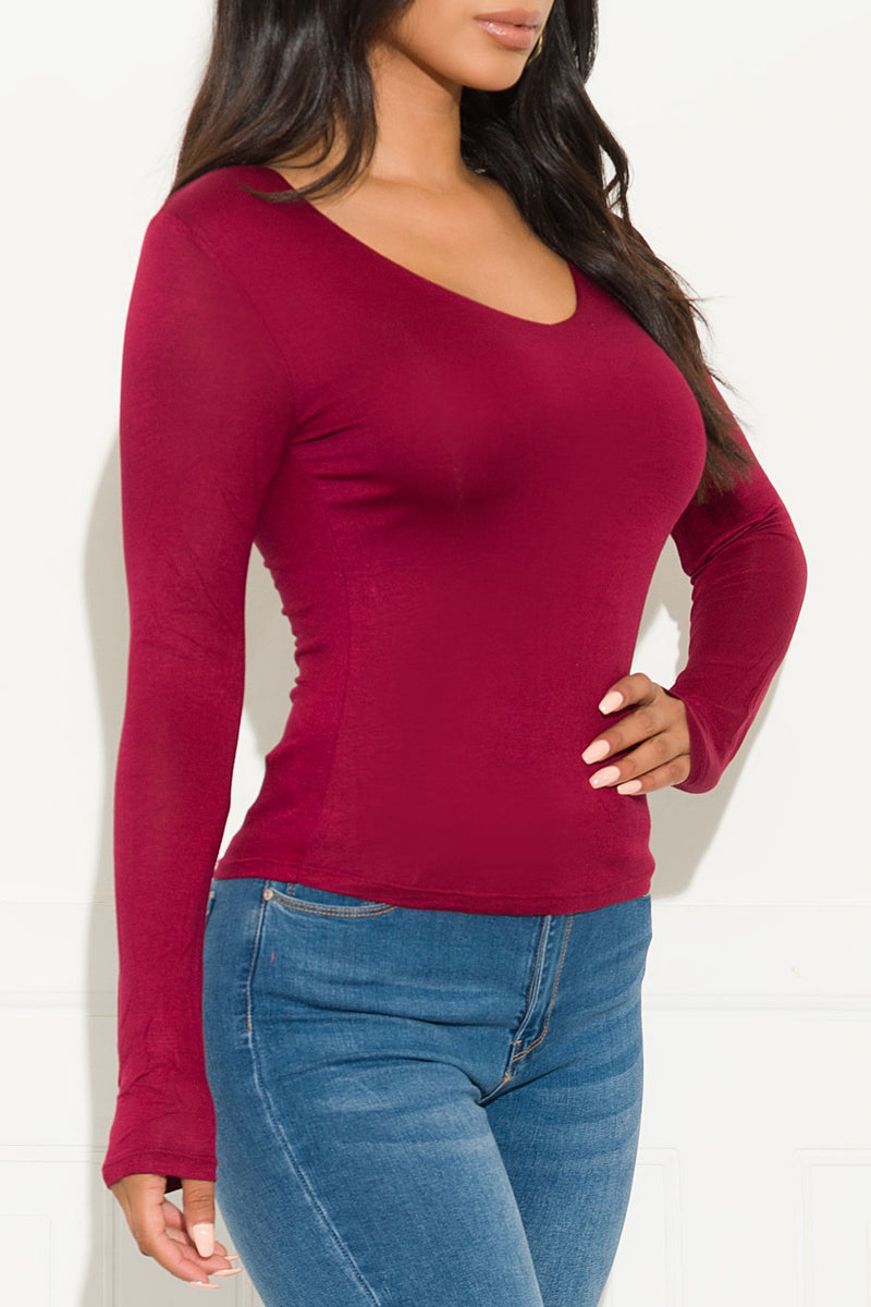 Simple Things Top Long Sleeve Burgundy