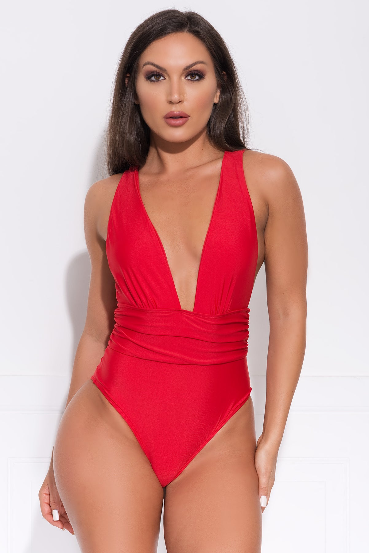The Dark Point One Piece Swimsuit- Red