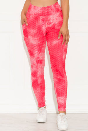 Stronger Than Ever Leggings Tie Dye Pink/White