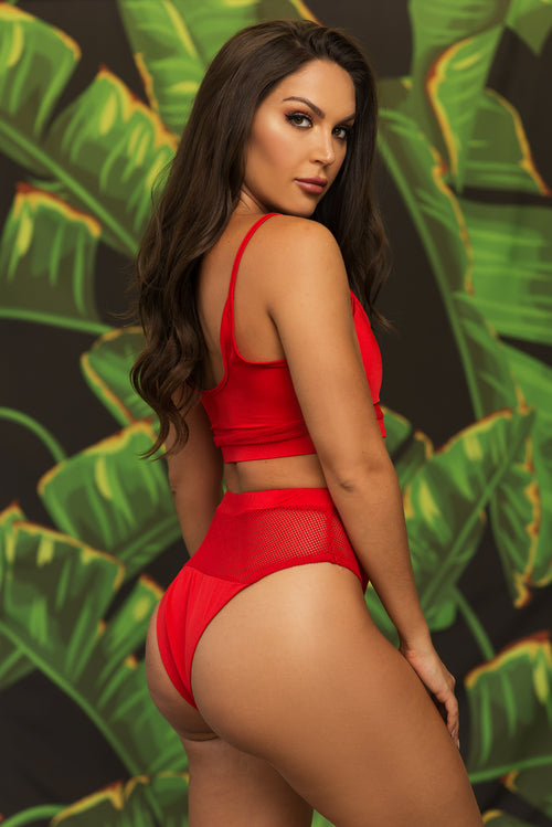 Negril Beach Two Piece Swimsuit - Red