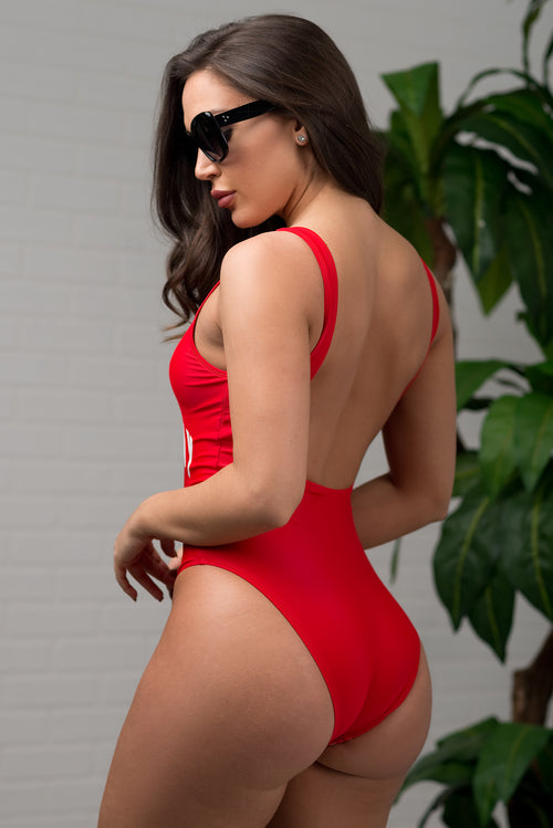 Birthday Suit One Piece Swimsuit - Red