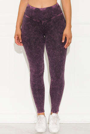 Mineral Washed Leggings Blackberry