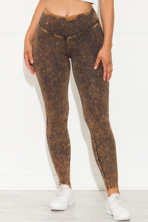 Mineral Washed Leggings Black/Orange