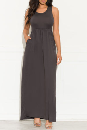 Bianca Maxi Dress Charcoal Grey