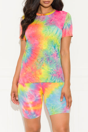 Chill Out Set Round Neck Tie Dye Pink/Yellow