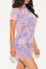 Chill Out Set Round Neck Tie Dye Lavender/Pink