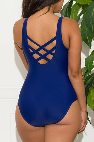 Relaxing Coastline One Piece Swimsuit - Black