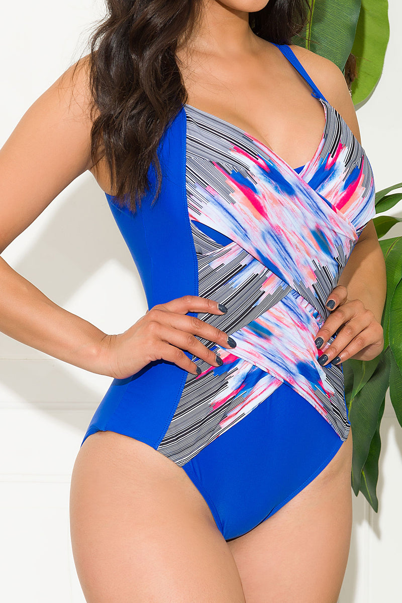 Chamming Strand One Piece Swimsuit Royal Blue