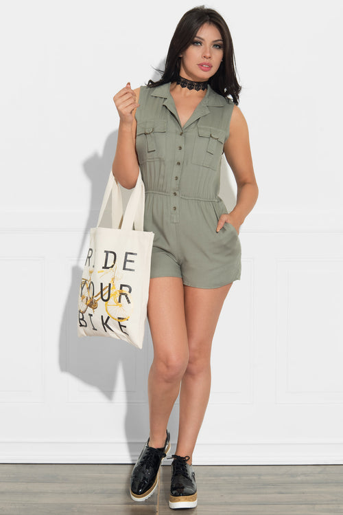 Be Yourself Romper Olive