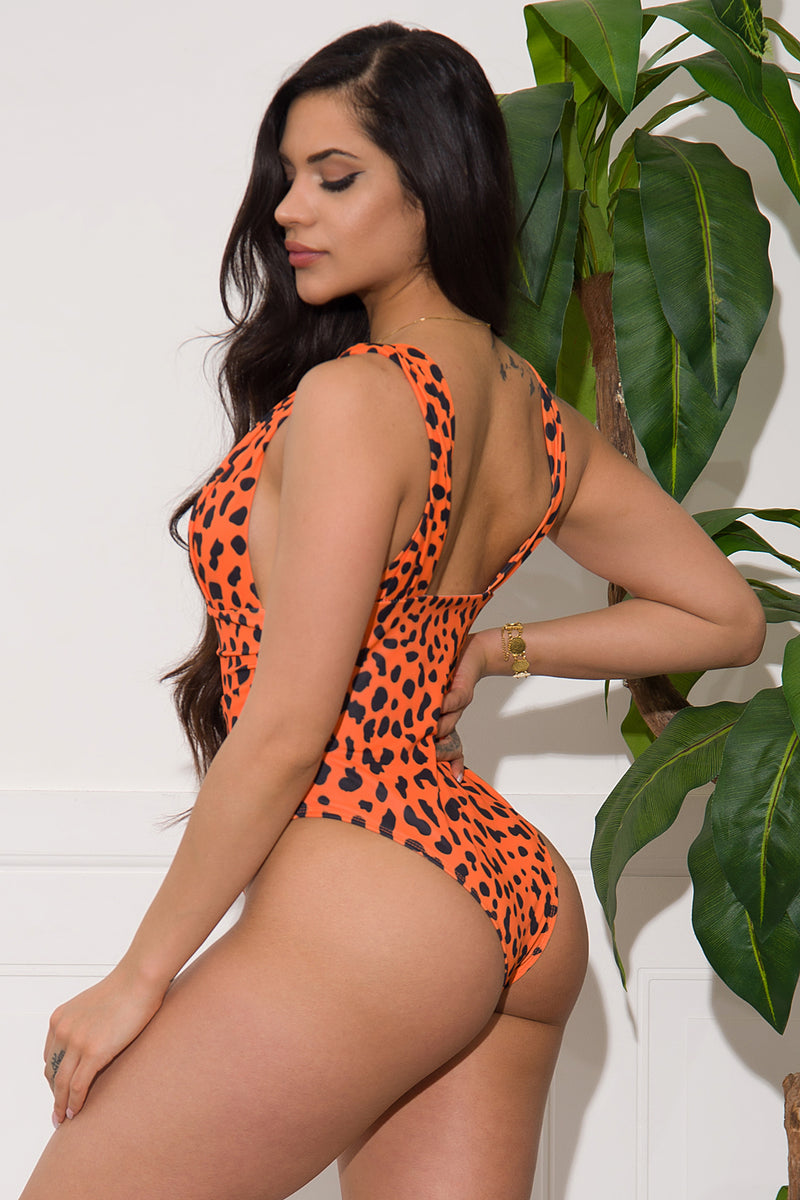White Coral Sands One Piece Swimsuit Orange Animal Print