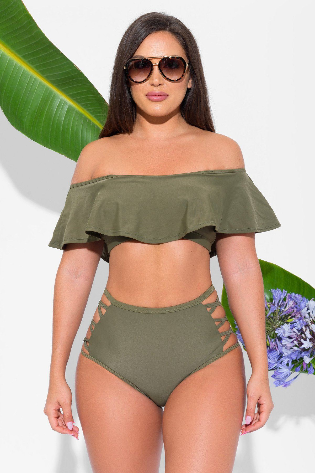 Crystal Beach Olive Two Piece Swimsuit