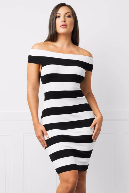 Dress - Dakota Off Shoulder Striped Dress