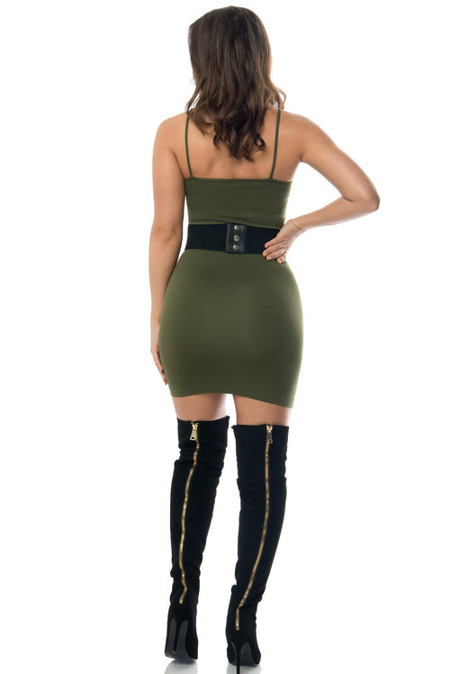Dress - Irresistible Olive Mini Dress - RESTOCKED