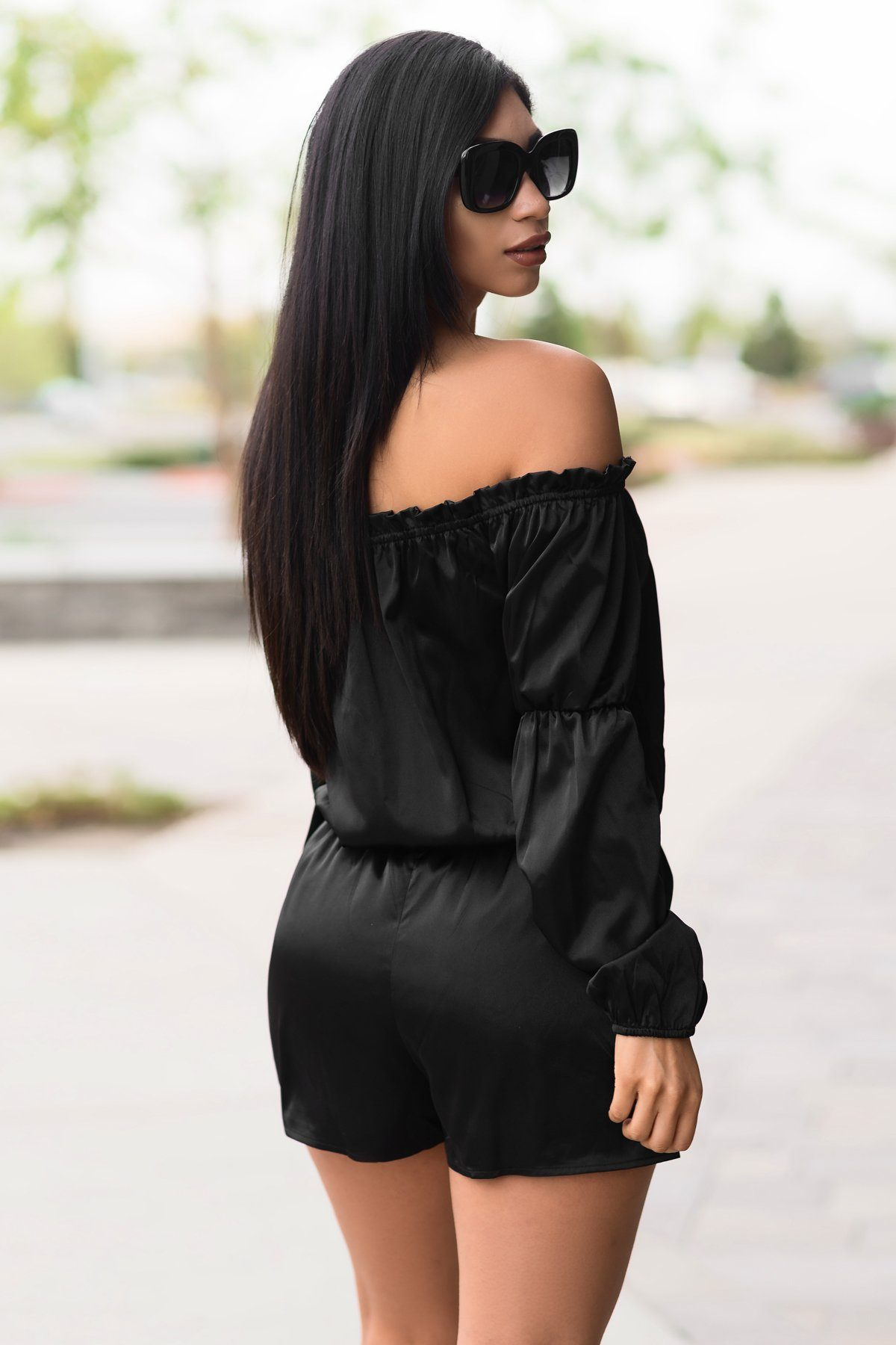 Dress - Jocelyn Satin Romper Black