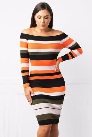 Dress - Laila Off Shoulder Striped Dress
