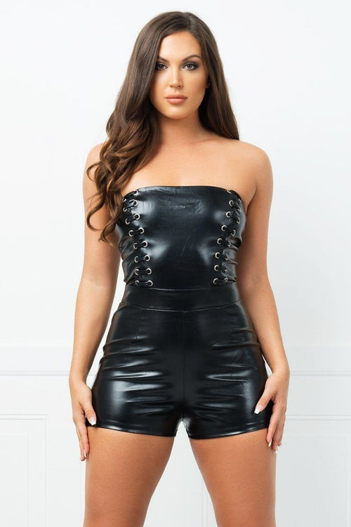 Dress - Olivia Faux Leather Romper