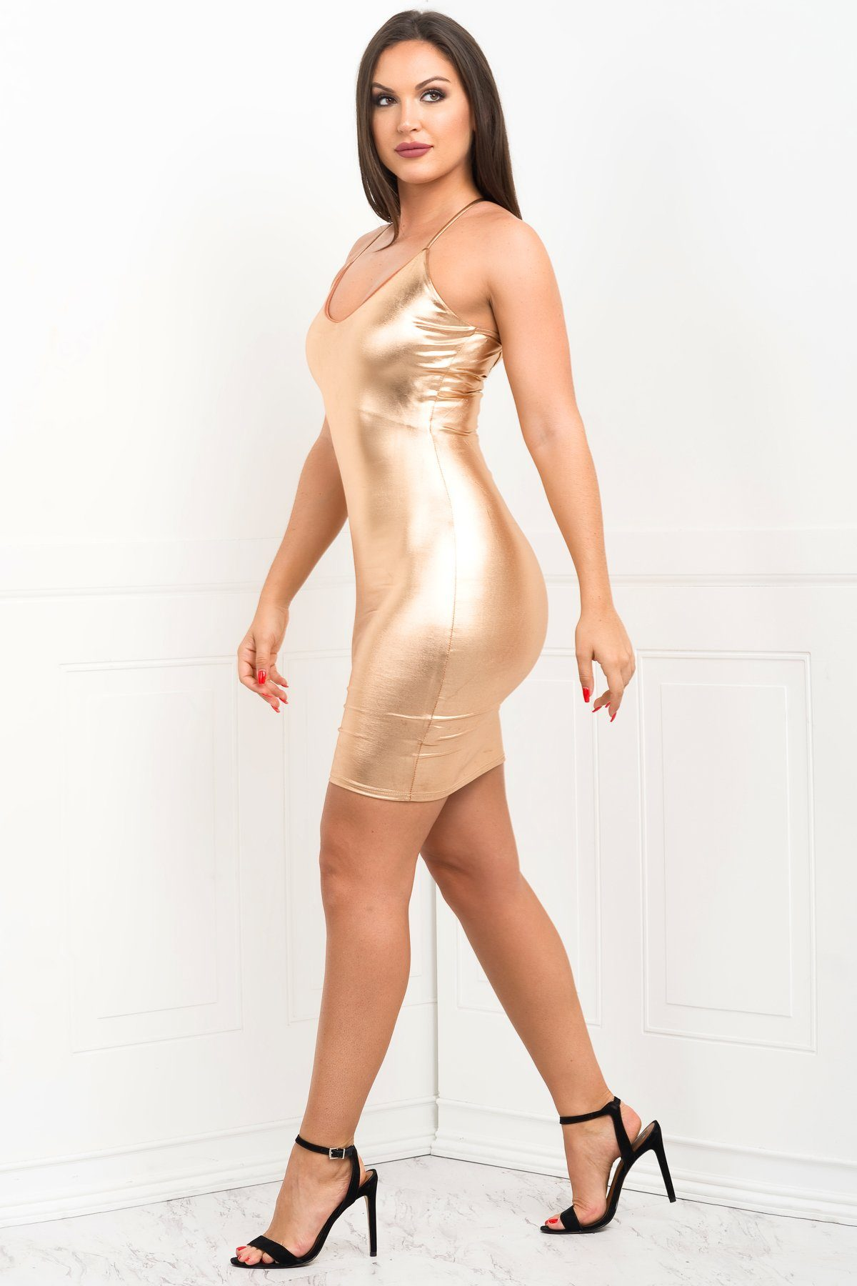 Dress - Sabrina Metallic Mini Dress - Rose Gold