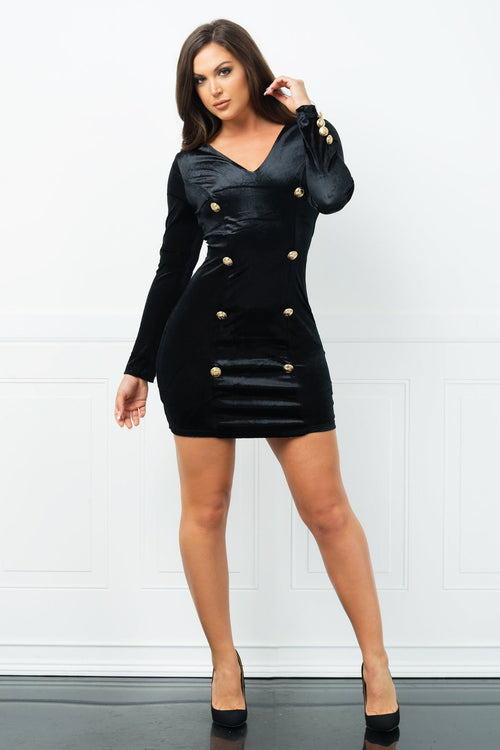 Dress - Sherry Velvet Dress - Black
