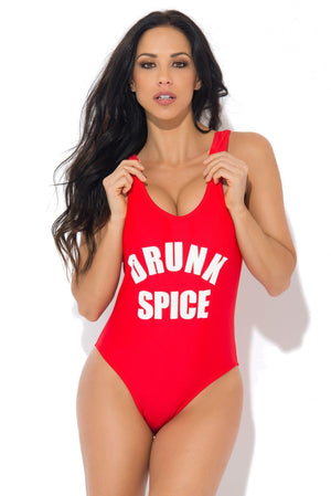 Drunk Spice One Piece Swimsuit RED