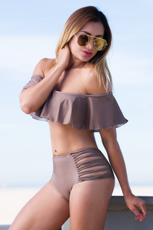 Malibu Off Shoulder Swimsuit-Taupe