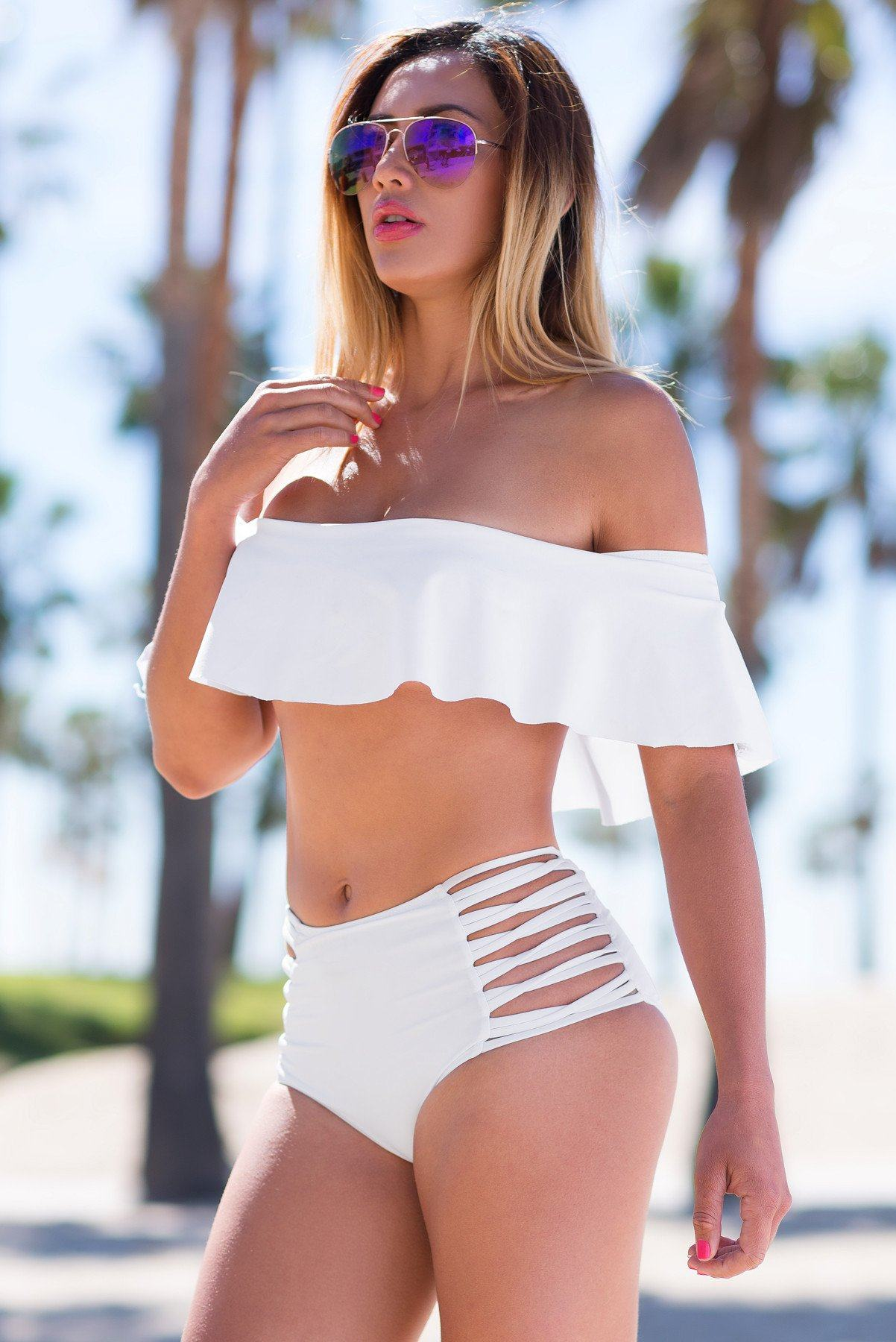 Malibu Off Shoulder Swimsuit White