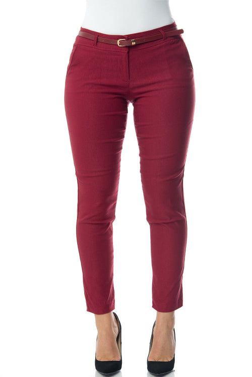 Pants - Get Down To Business Pants Burgundy - RESTOCKED
