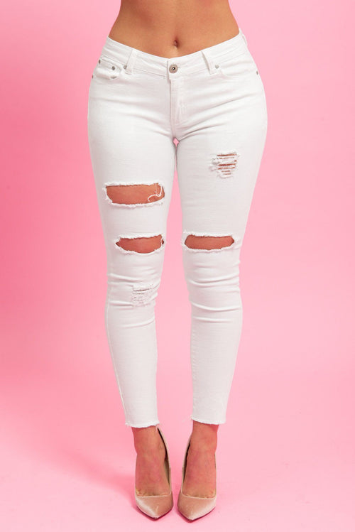 Pants - Wendy Distressed Jeans Off White - RESTOCKED