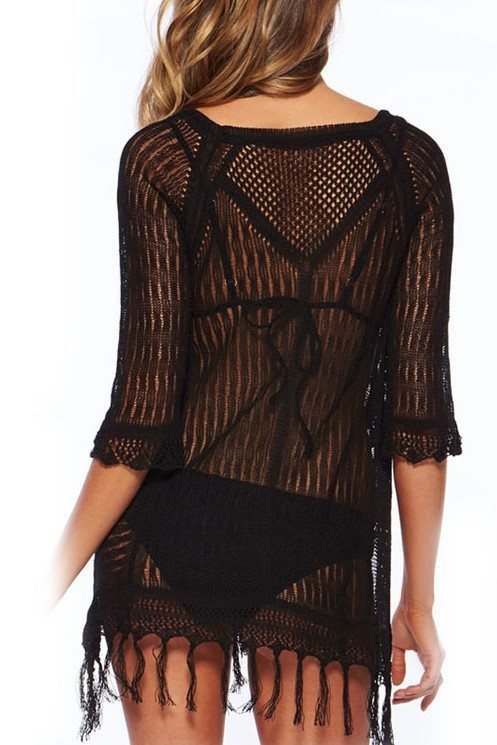 Paulina Black Cover Up - Fashion Effect Store  - 2