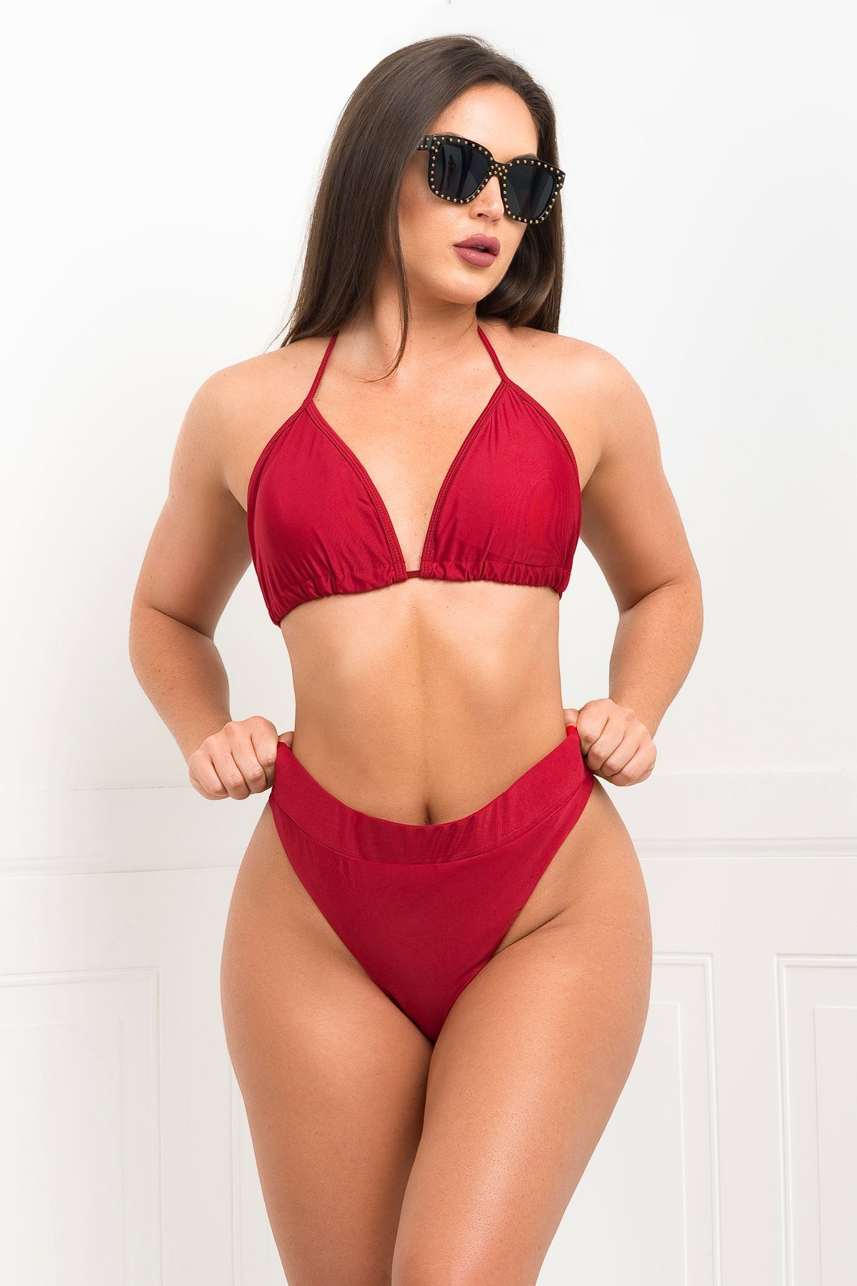 Sandy Cliffs 3 Piece Swimsuit - Burgundy